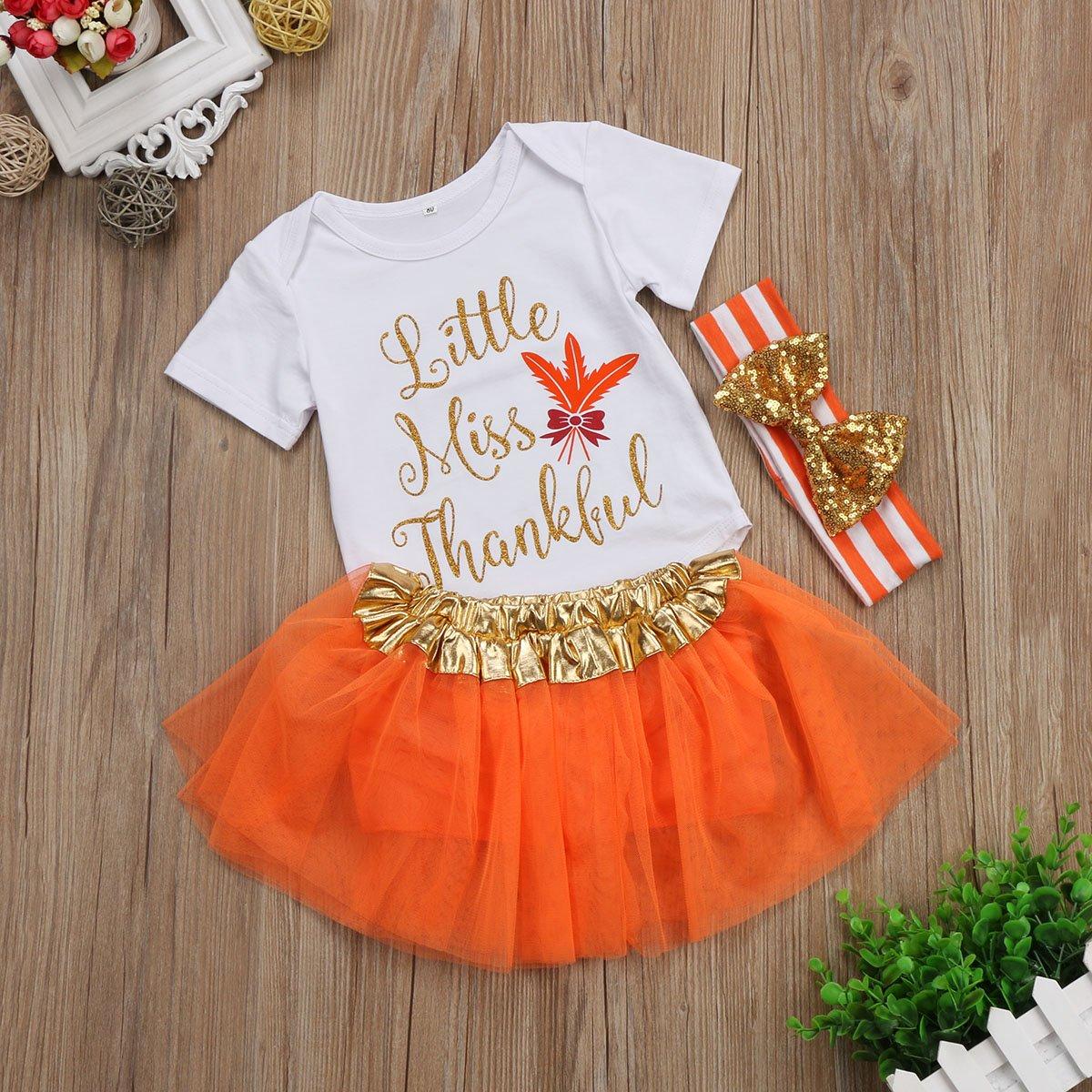 Baby Girl Halloween Thanksgiving Outfit,Letter Print Bodysuit Romper+Tutu Skirt+Headband Clothes Set