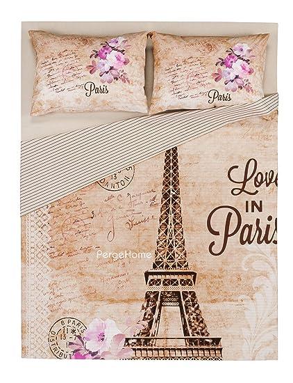 863c9d2879ca15 100% Turkish Cotton 4 Pcs!! Ranforce Paris Eiffel Tower Theme Themed Full  Double Queen Size Quilt Duvet Cover Set Bedding Made in Turkey: Amazon.ca:  Home & ...