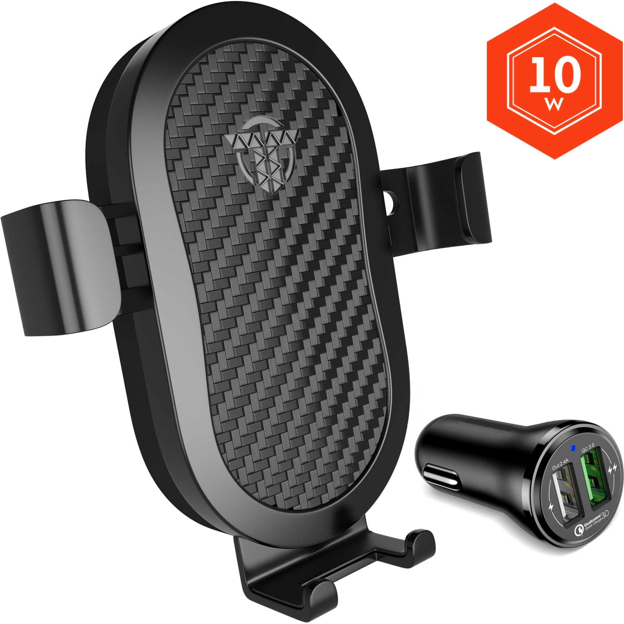 Wireless Car Charger Mount - 10W Fast Qi Car Charger Holder For iPhone X 8 Samsung Galaxy S9 S8 S7 LG Premium Charge Stand Cars Kit With QC3.0 Quick Gravity Dock and Best Q1 Cell Phone Air Vent Set