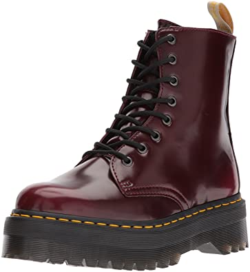 6dc88d8f63 Dr Martens Unisex Jadon Vegan Quad Cambridge Brush Boots, Cherry red, 3  Medium UK