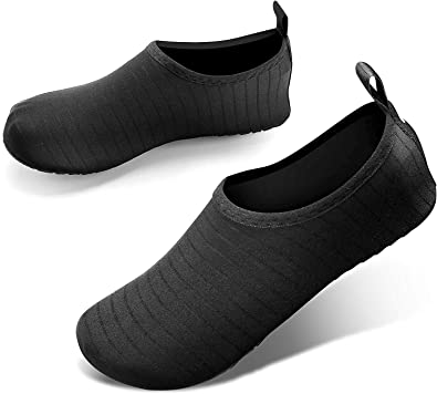 JOTO Water Shoes for Women Men Kids, Barefoot Quick-Dry Aqua Water Socks Slip-on Swim Beach Shoes for Snorkeling Surfing Kayaking Beach Walking Yoga –Dark Grey Twill