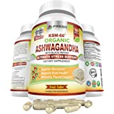 Ashwagandha KSM-66 1200mg 100% Organic Certified Pure Root Extract w/ Black Pepper for Superior Absorption for Premium Stress Relief, Anxiety & Thyroid Support Supplement - 60 Vegan KSM66 Capsules