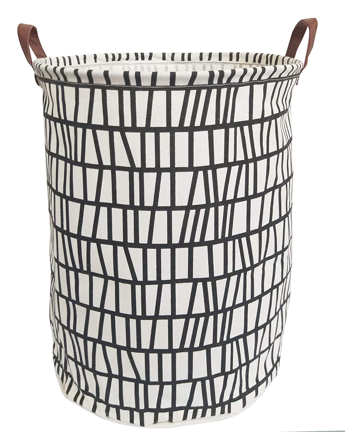 ESSME Laundry Hamper,Collapsible Canvas Waterproof Storage Bin Kids, Nursery Hamper,Gift Baskets,Home Organizer (Black Stripes)