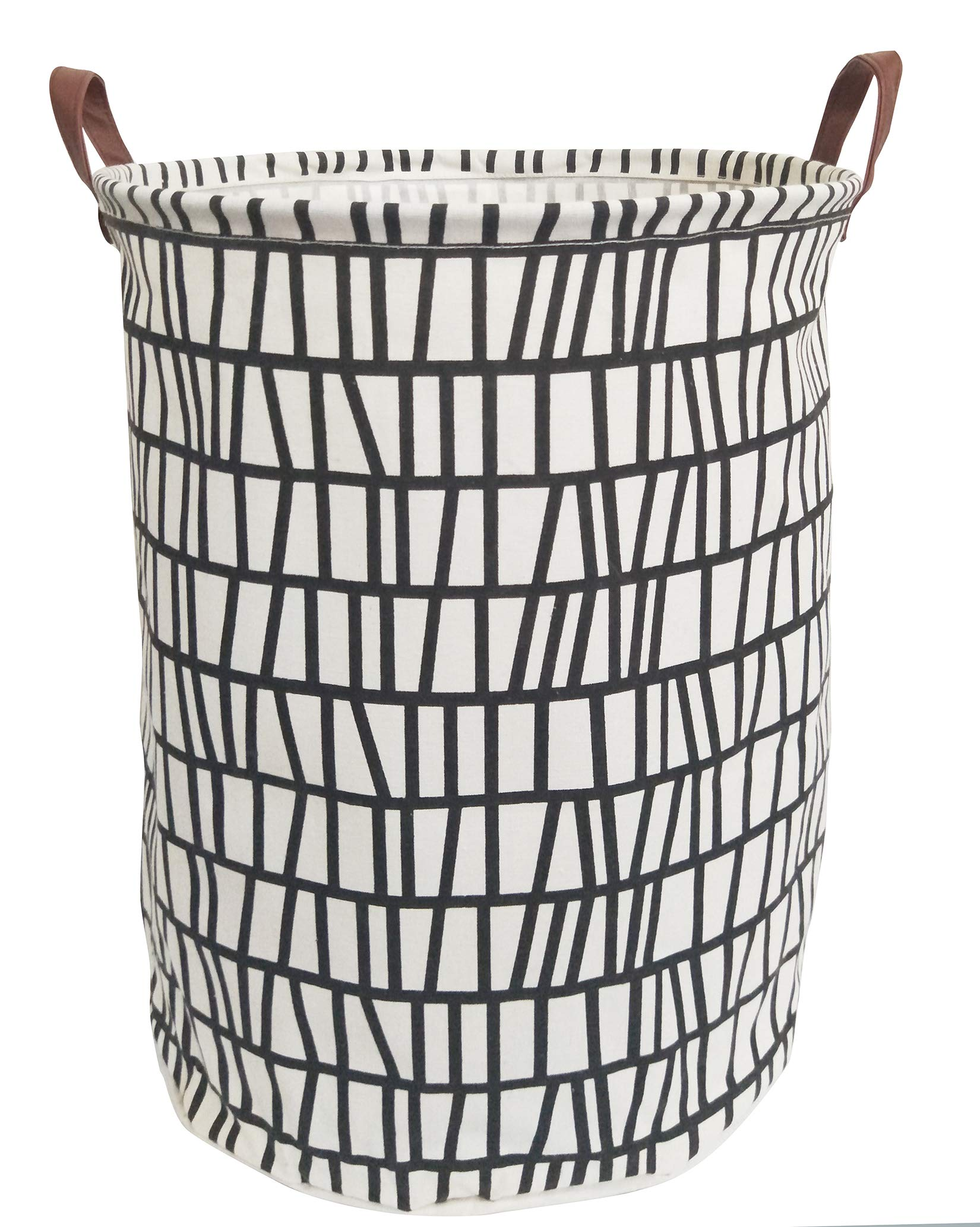 ESSME Laundry Hamper,Collapsible Canvas Waterproof Storage Bin Kids, Nursery Hamper,Gift Baskets,Home Organizer (Black Stripes)