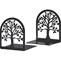MAXFOUNDRY Bookends Decorative, Tree of Life Book Ends, Metal Bookends, Black Book Ends, Bookends for Shelves, Book Ends for Heavy Books, Book Holder for Home Office, Heavy Duty Bookends