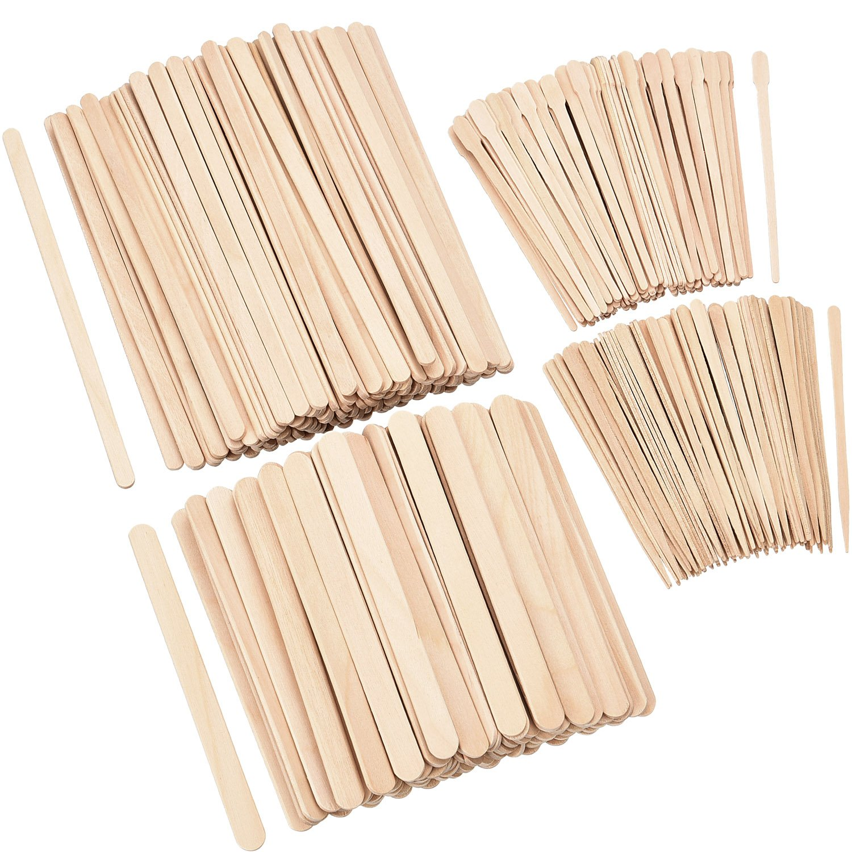 Hestya 600 Pieces Wax Applicator Sticks Wood Waxing Craft Sticks Spatulas Applicators for Hair Removal Eyebrow Body, 4 Sizes