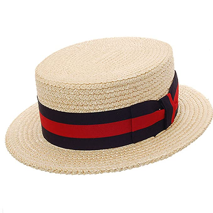 Mens 1920s Style Hats and Caps Quality Boater Straw Hat  $160.00 AT vintagedancer.com