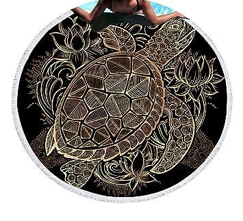 SASA Animales impresión Toalla de Playa Redondo Microfibra Manta de Playa Blando Toalla de baño Decoración
