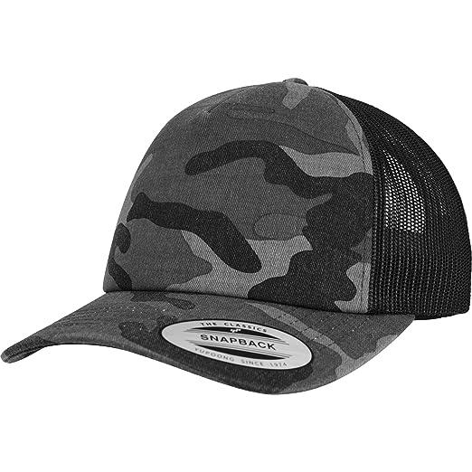 7bf51d07765 Amazon.com  Yupoong Flexfit Camo Snapback Trucker Cap - 2 Designs - Dark  Camo Black  Clothing