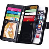 "iPhone 6 Plus Case,Joopapa Luxury Fashion Pu Leather Magnet Wallet Credit Card Holder Flip Case Cover with Built-in 9 Card Slots for iPhone 6 Plus 5.5"" Inch"