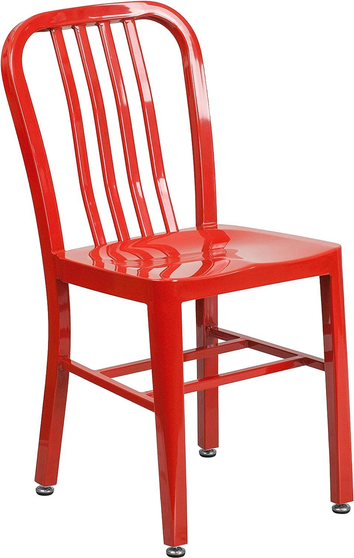 Flash Furniture Commercial Grade Red Metal Indoor-Outdoor Chair