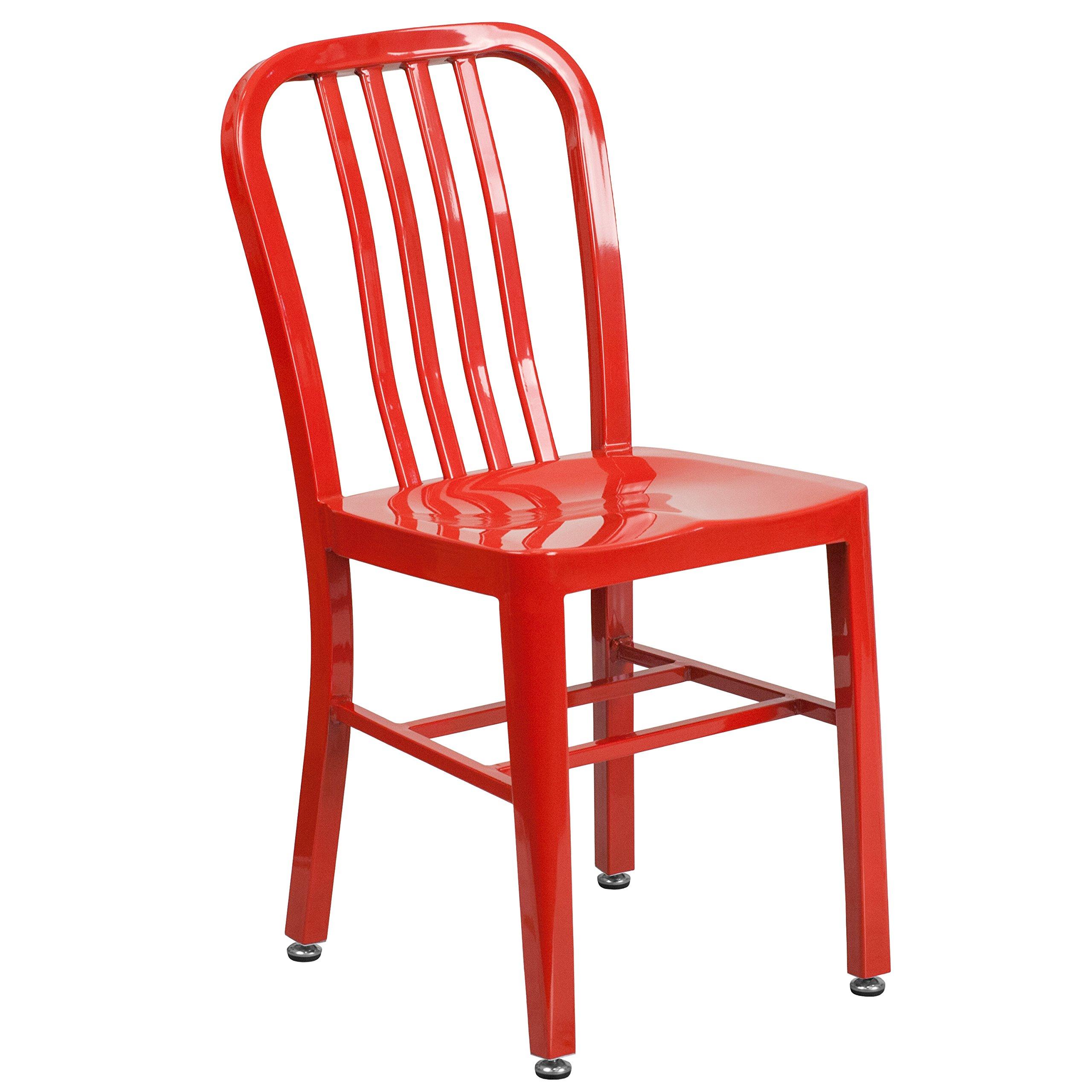 Flash Furniture Red Metal Indoor-Outdoor Chair