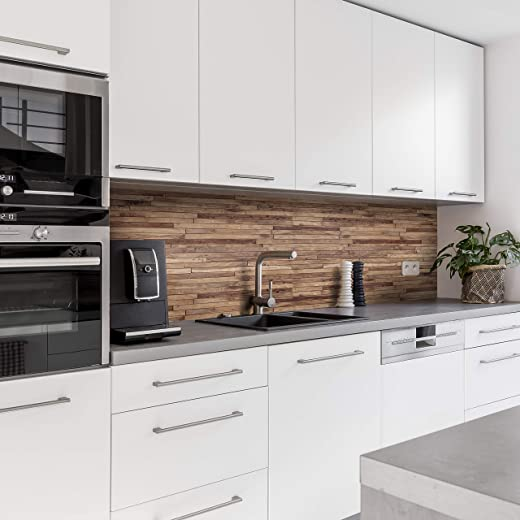 Dedeco Küchenrückwand Motiv: Holz V1, 3mm Aluminium Platte Fliesenverkleidung als Spritzschutz Küchenwand Verbundplatte wasserfest, inkl. UV-Lack...