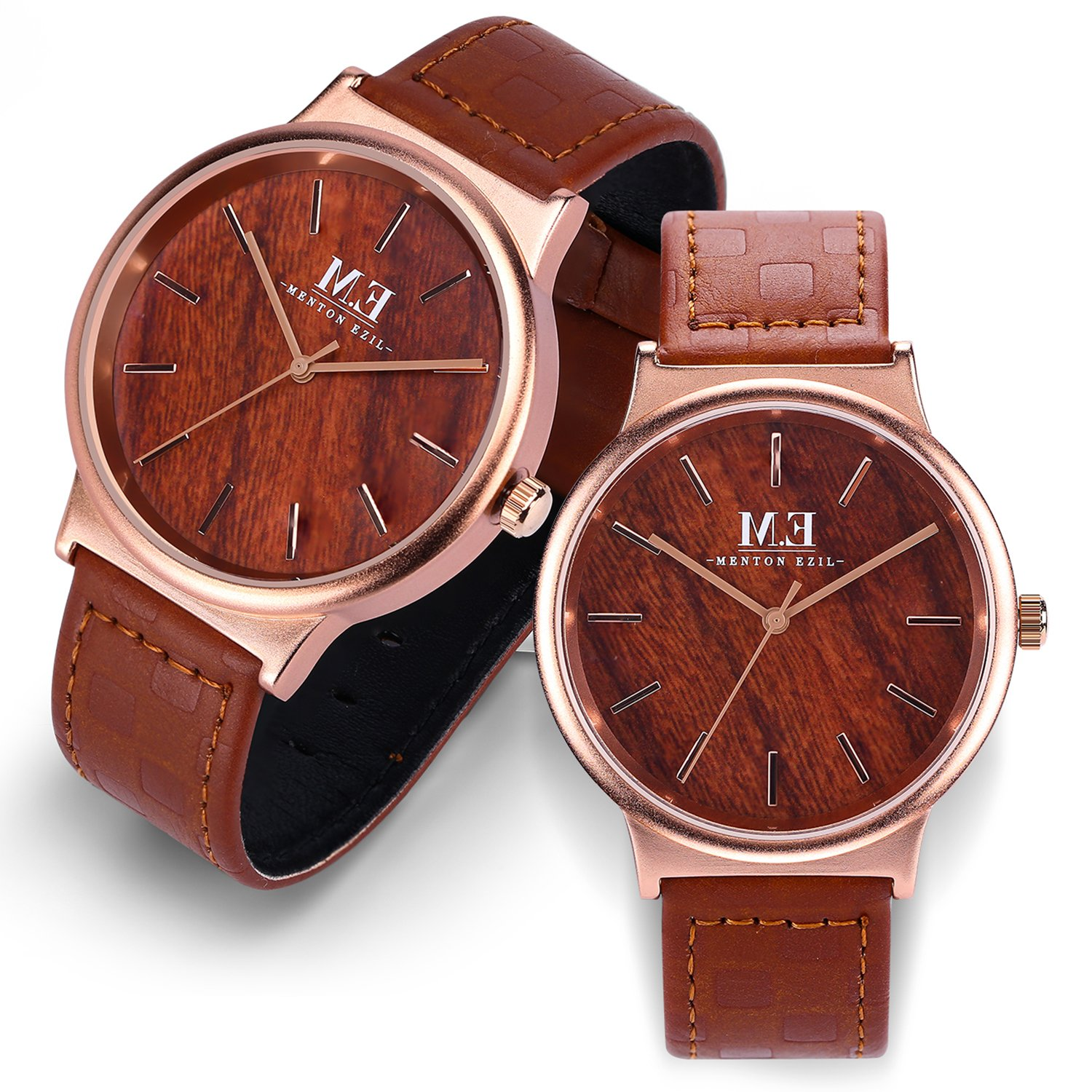 Couple Watch for women men 30M Waterproof Classic Quartz Analog Rose Gold Wrist Watches with Brown Leather
