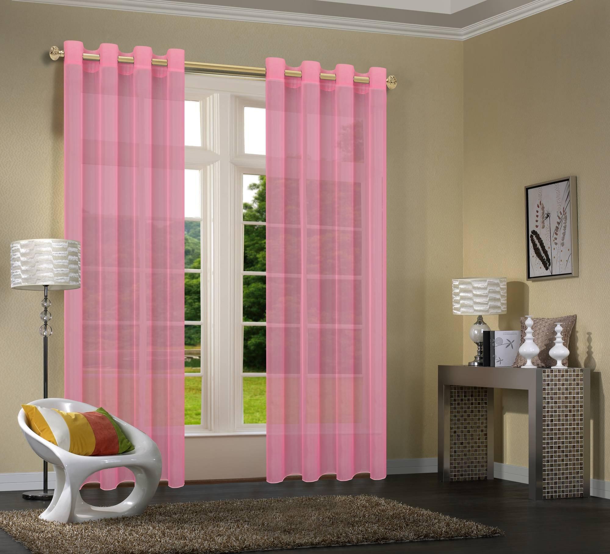 db38d1c436912a Primavera -20332CN- 2er-Pack Rosa Vorhang Transparent Gardinen Set  Wohnzimmer Voile Vorhang Ösenvorhang