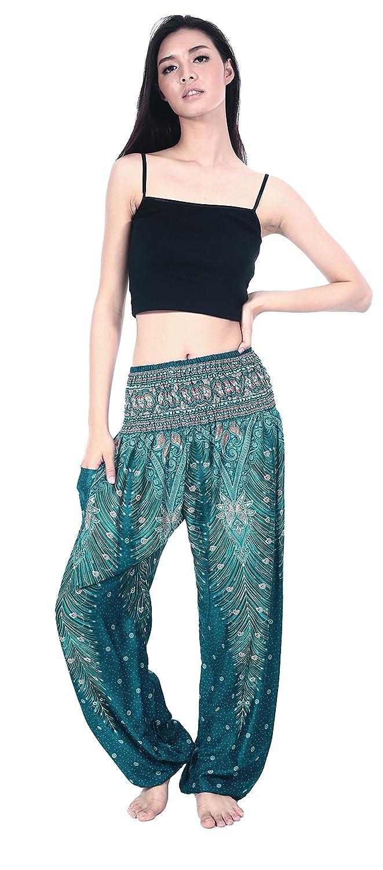 Boho Vib Womens Rayon Print Smocked Waist Boho Harem Yoga Pants