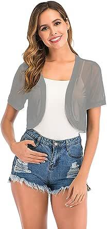 Enjoyoself Womens Transparent Shrugs Bolero Short Sleeve Cardigan Lightweight Crop Evening