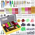 PLUSINNO Fishing Lures Baits Tackle Including Crankbaits, Spinnerbaits, Plastic Worms, Jigs, Topwater Lures , Tackle Box and