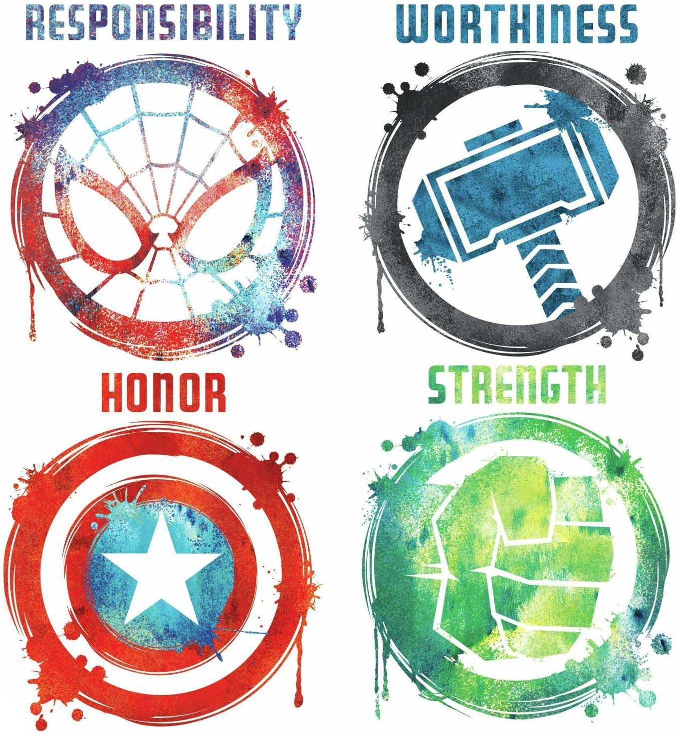RoomMates RMK3583SCS Marvel Icons Peel And Stick Wall Decals ,Multicolor