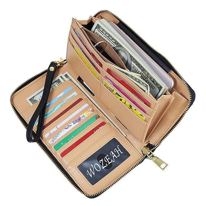 820864b5fe16 WOZEAH Women s RFID Blocking PU Leather Zip Around Wallet Clutch Large Travel  Purse (black)