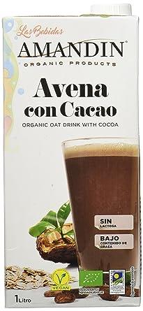 Amandin Bebida de Avena con Cacao - Paquete de 6 x 1000 ml - Total: