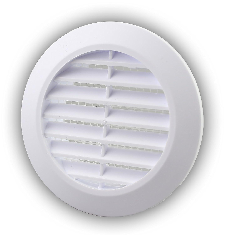 L/üftungsgitter Abschlussgitter rund /Ø 90 mm wei/ß mit Insektennetz Gitter ABS Kunststoff witterungsbest/ändig Insektenschutz