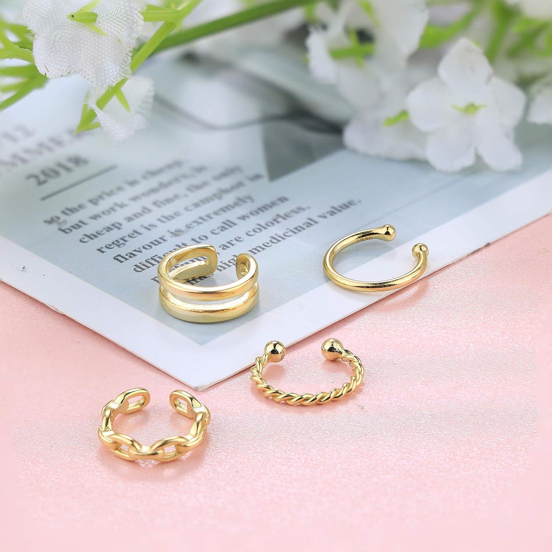 Milacolato 3 piezas de plata esterlina 925 multilayer ear cuff minimalista no perforado clip pendientes para mujer ni/ña cart/ílago pendientes