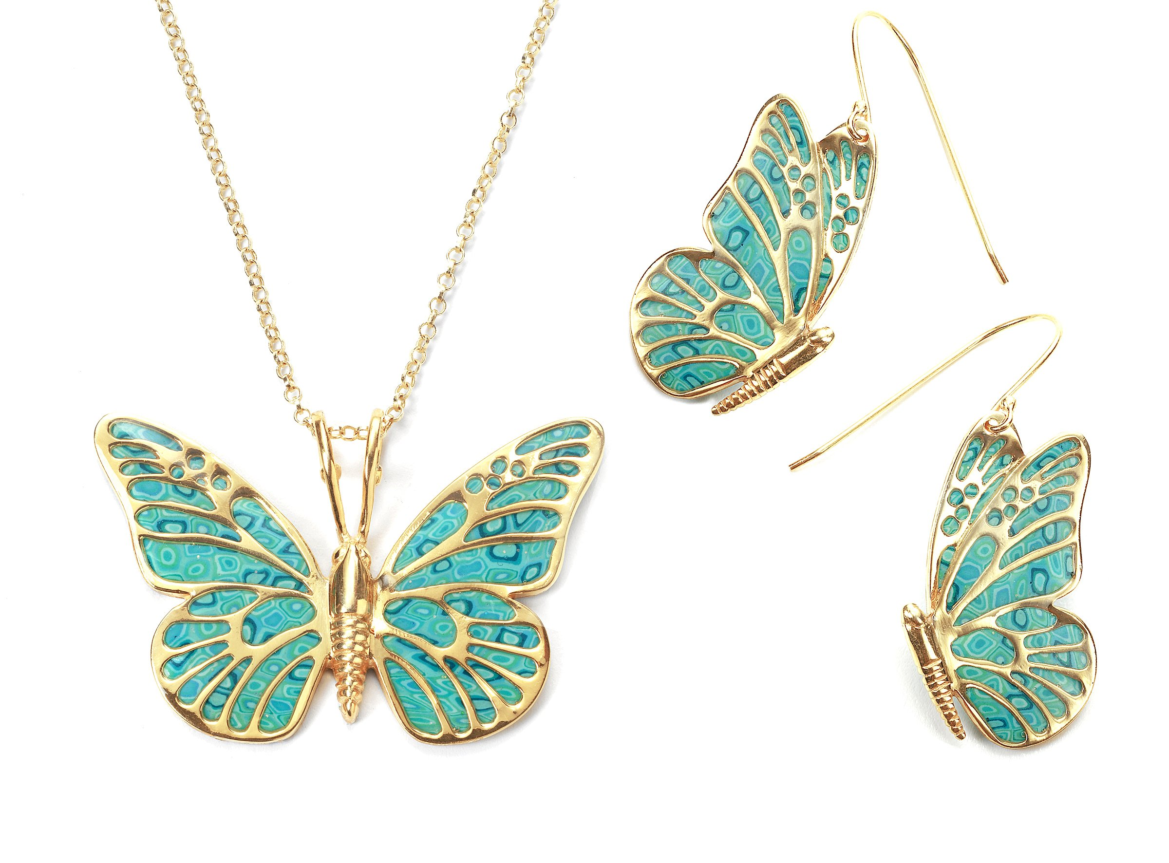 Gold Plated Silver Butterfly Necklace Earring Set Sea Green Polymer Clay Jewelry, 16.5'' Gold Filled Chain by Adina Plastelina Handmade Jewelry
