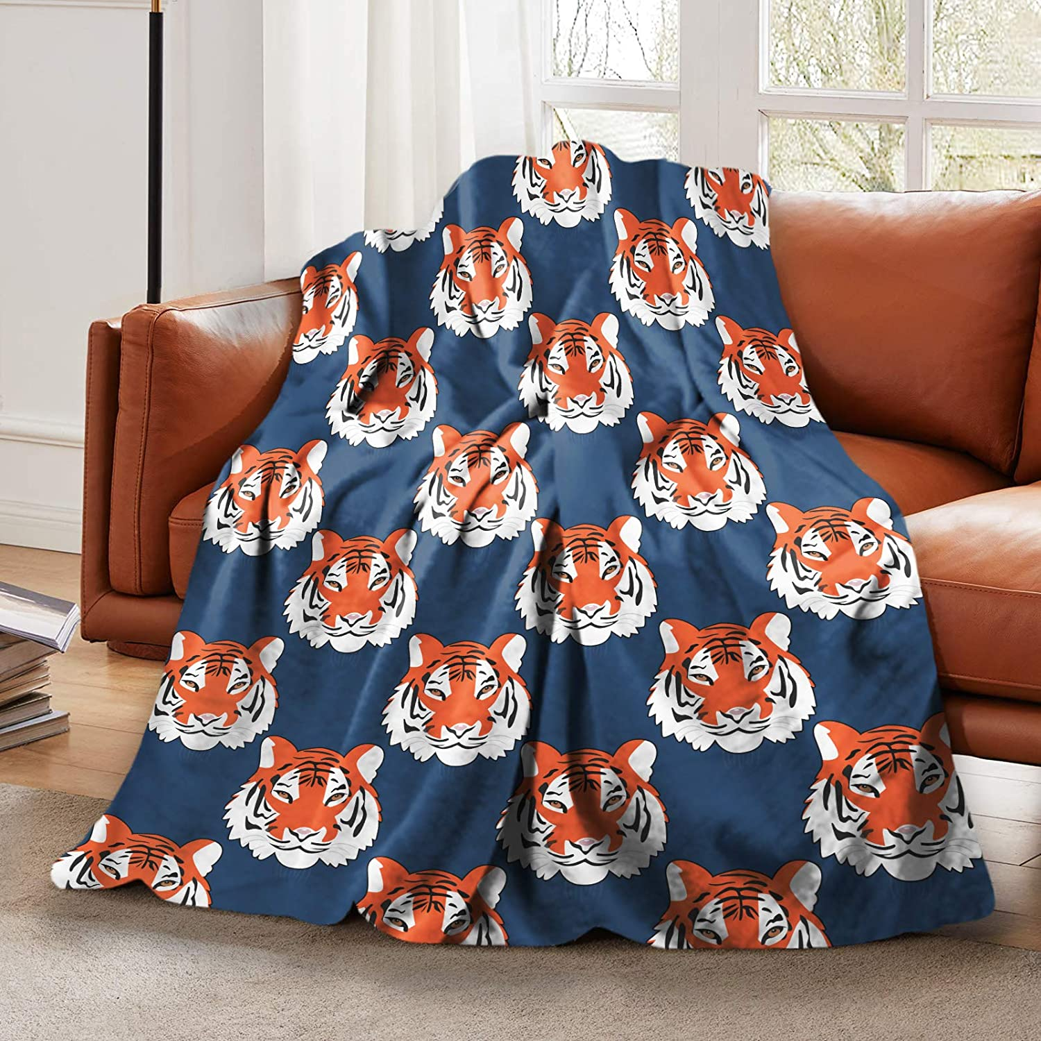 LELEMATE Plush Fluffy Throw Blanket Jungle Tigers in Auburn Colors Bed Blanket for Boys Girls Teens Smooth Soft Flannel Blanket for Sofa Chair Office Travel Camping Outdoor Home Decor 50