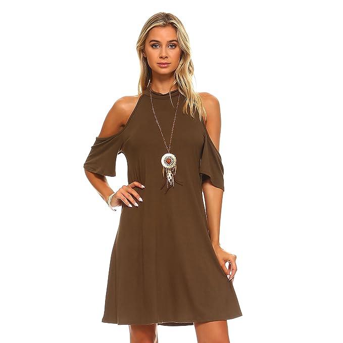 6b050d096648 Isaac Liev Cutout Cold Shoulder Flowy Choker Dress (Medium, Olive) at  Amazon Women's Clothing store: