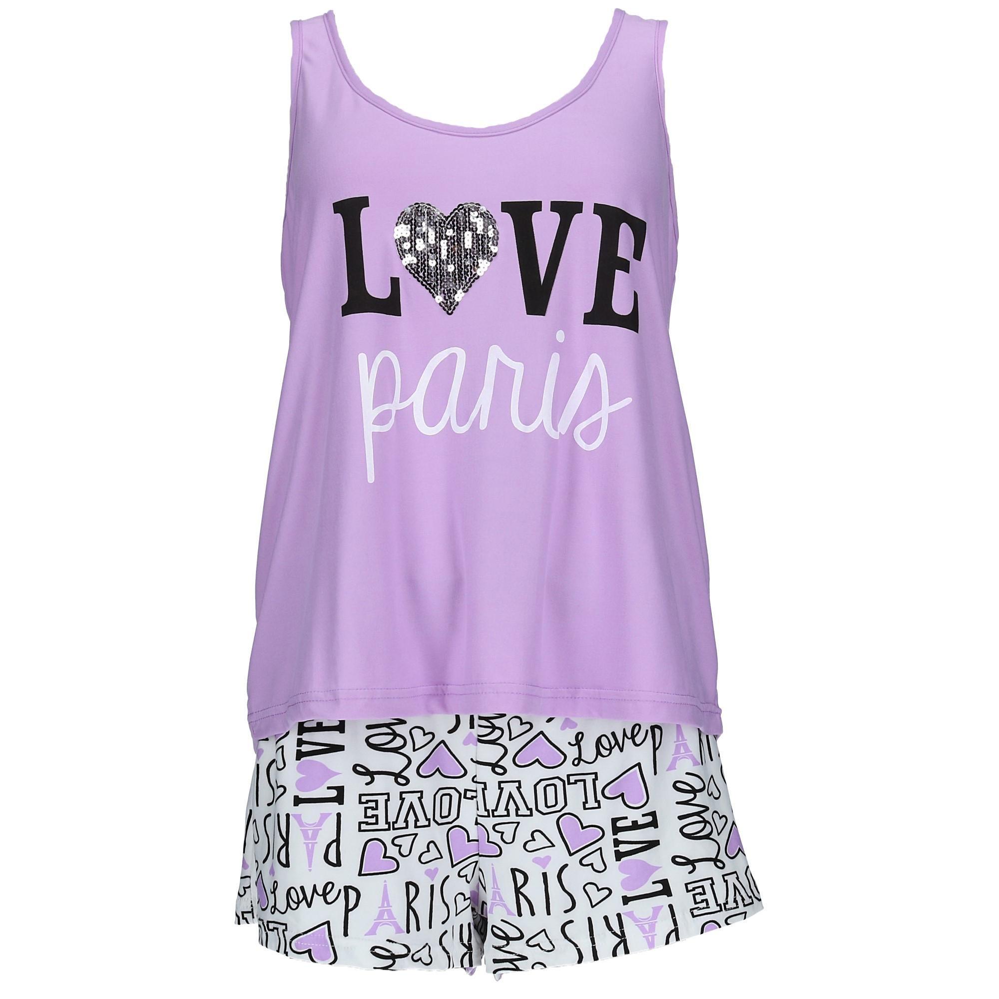 em & alfie Women's Plus Size Tank and Short Pajama Set, 2X, Purple