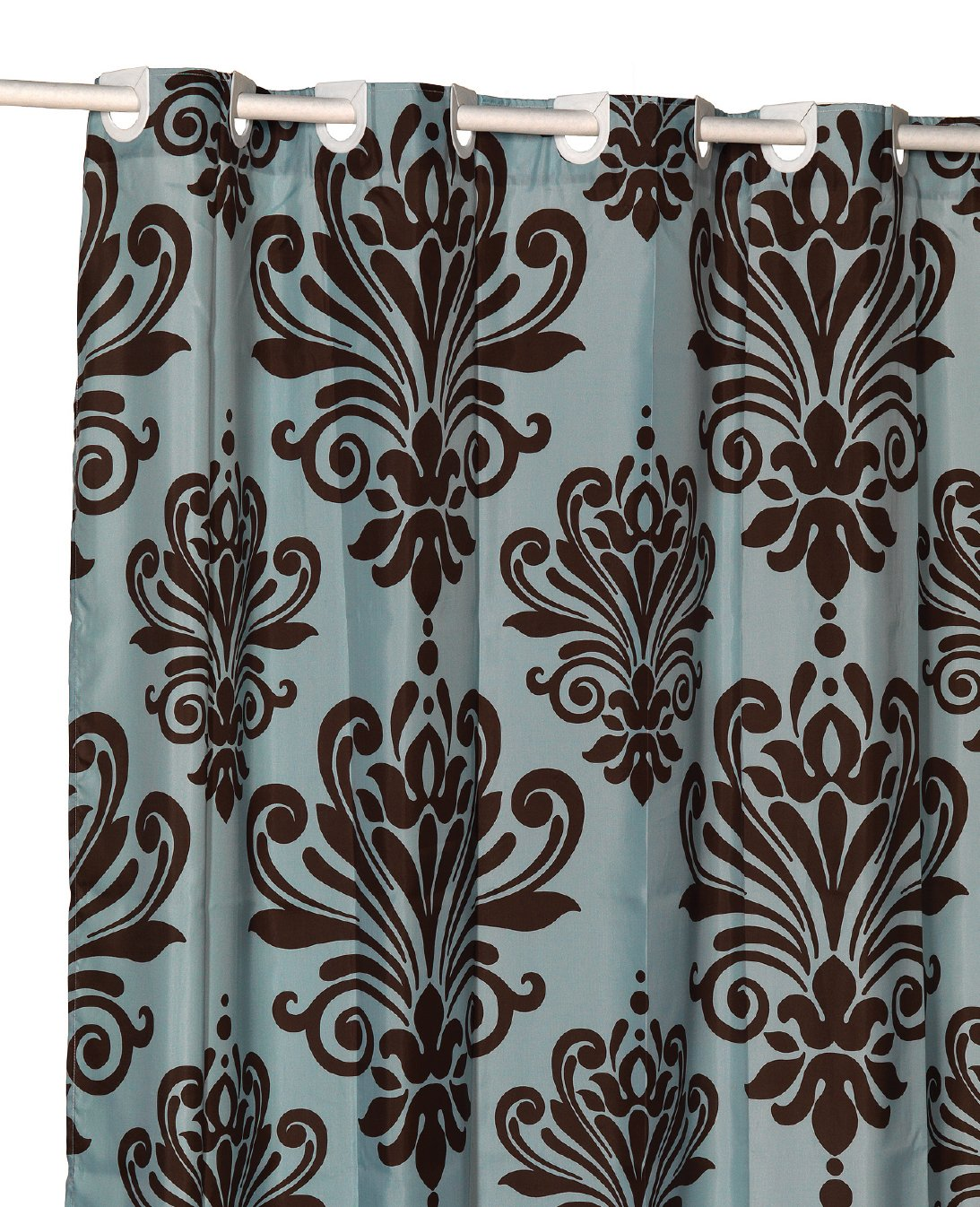 Beacon Hill Brown and Blue EZ On Hookless Fabric Extra Wide Shower Curtain with built in shower curtain hooks
