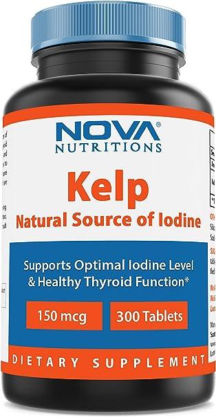 Nova Nutritions Kelp supplement 150 mcg 300 Tablets - A Natural source of Iodine