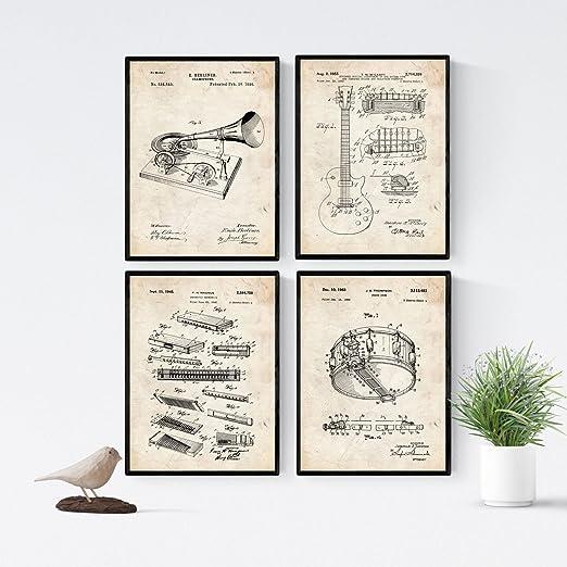 Nacnic Vintage - Pack de 4 láminas con Patentes relacionadas con ...