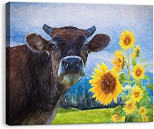 OWL QUEEN Rustic Cute Cow Pictures Wall Decor Canvas Farmhouse Animal Wall Art Blooming Sunflowers Oil Painting Style Handmade Modern Artwork Ready to Hang for Bedroom Office Dining Room (8x12 Inches)