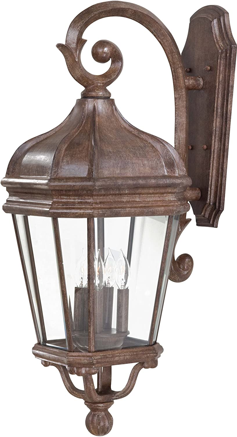Minka Lavery 8692 61 Harrison 3 Light Wall Mount Outdoor Fixture, Vintage  Rust With Clear Beveled Glass   Wall Porch Lights   Amazon.com