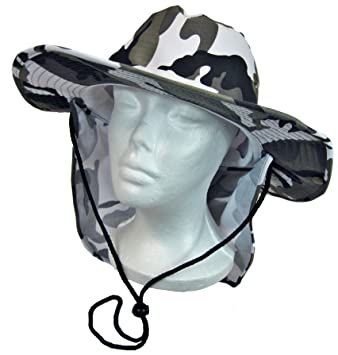 89e0df9fe93 Fishing Hiking Hunting Boating Snap Brim Hat Sun Cap with Neck Flap Cover  Outdoor Safari Boonie