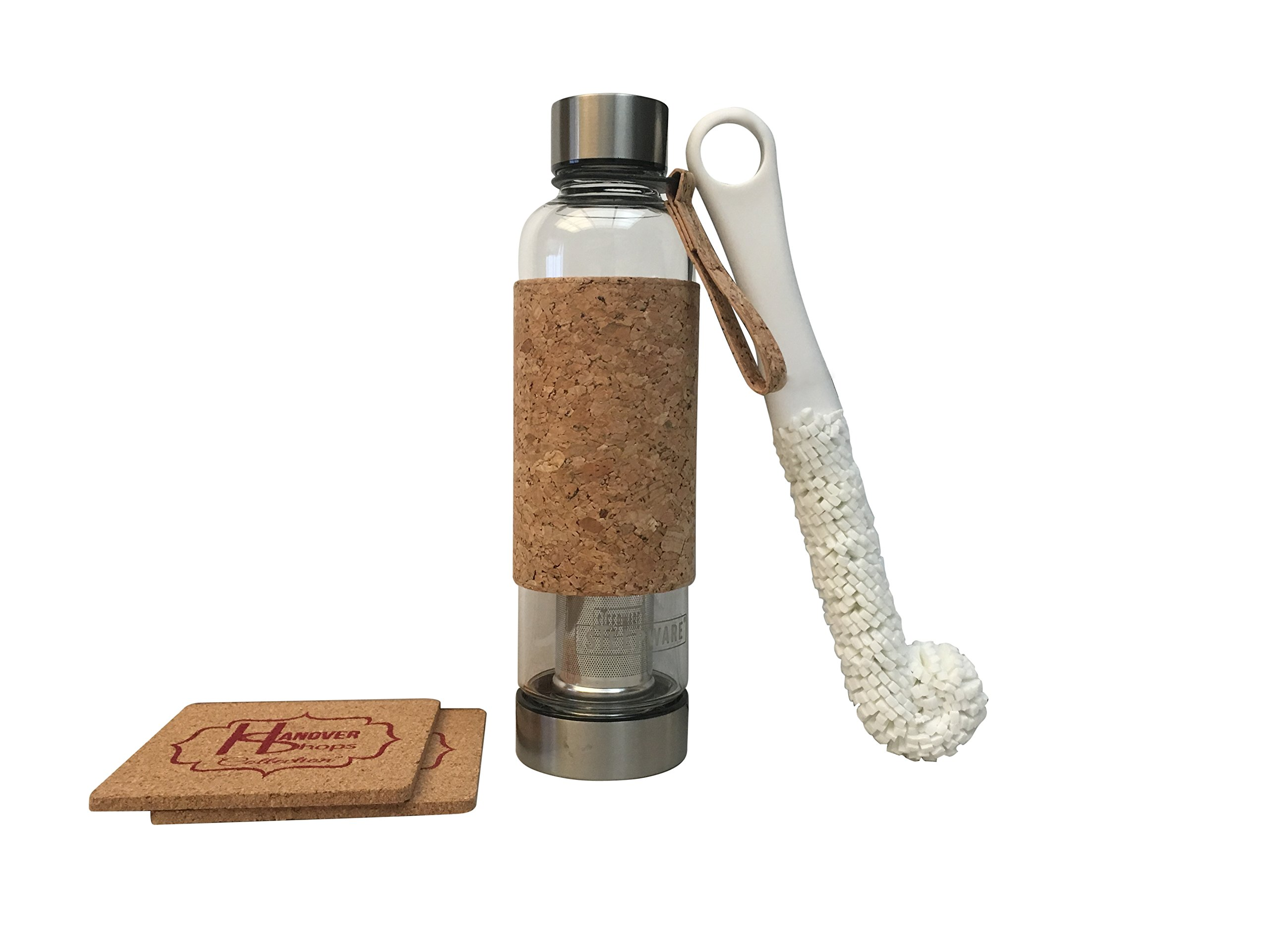 Urban Tea Tumbler with stainless steel infuser and lids, bottle sponge brush and cork coasters bundle by hanovershops