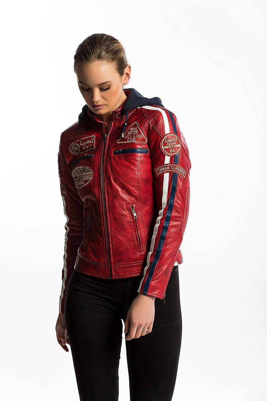 Chaqueta Moto Mujer de Cuero Urban Leather '58 LADIES' | Chaqueta Cuero Mujer | Cazadora Moto de Piel de Cordero | Armadura Removible para Espalda, Hombros y Codos Aprobada por la CE |Rojo Wax | 5XL