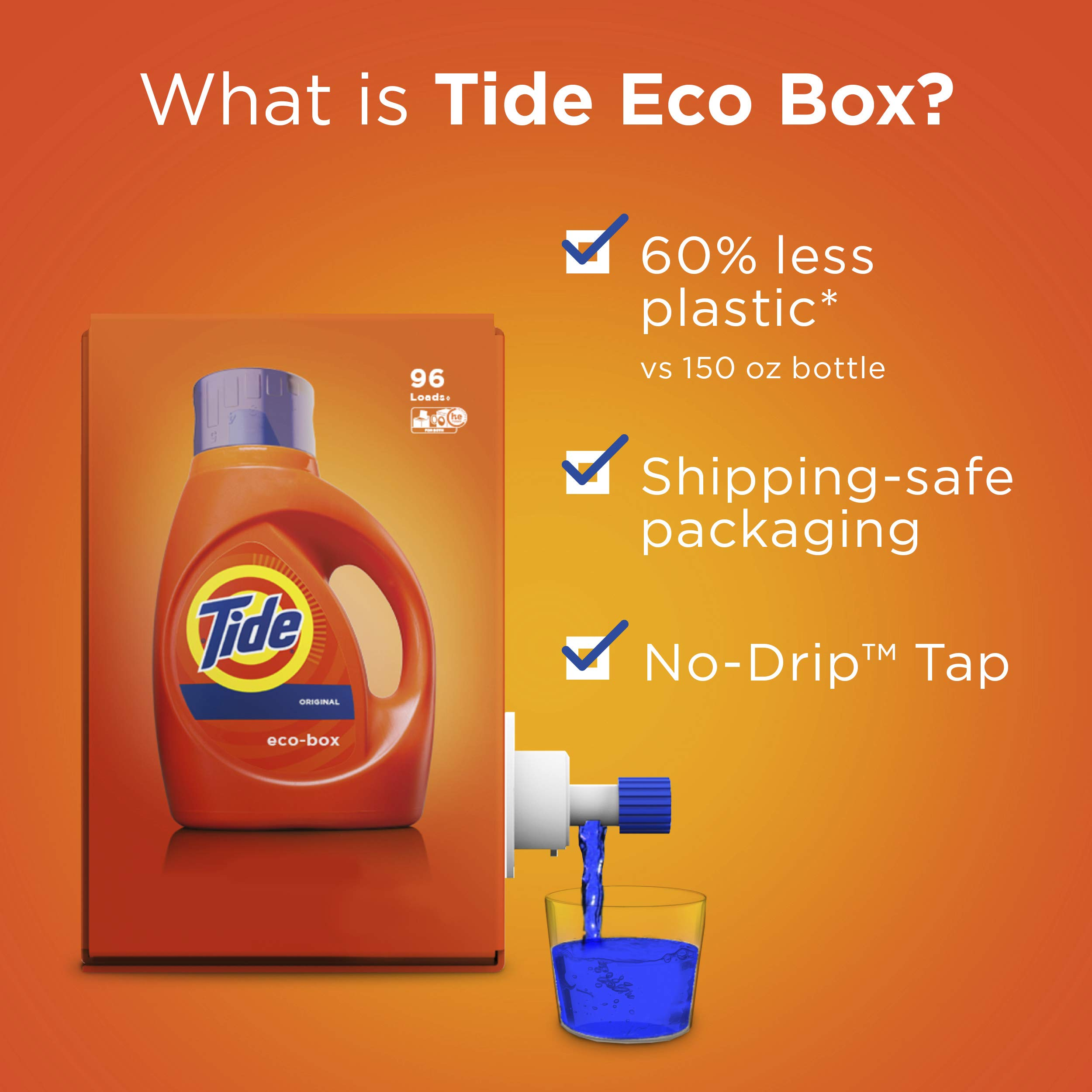 Tide Laundry Detergent Liquid Eco-Box, Concentrated, Original Scent, 105 oz, HE Compatible, 96 Loads by Tide (Image #3)