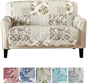 """Great Bay Home Patchwork Scalloped Printed Furniture Protector. Stain Resistant Loveseat Cover. (54"""" Loveseat, Taupe)"""