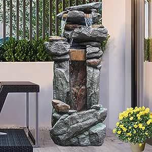 "Outdoor Garden Fountain with LED Lights - 4 Tier Rock Waterfall Standing Water Fountain for Garden Patio Deck Porch Backyard Yard Decor Fountain Outdoor Indoor Art Fountain 42.13"""