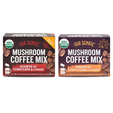 Four Sigmatic Mushroom Coffee Mix Pack of 2 - Lion's Mane and Chaga & Cordyceps and Chaga