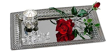 Decorativo Bandeja de espejo Romántico Espejo de mesa De Metal y Cristal plata 22x32cm rectangular