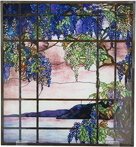 Amazon Com Ebros Louis Comfort Tiffany Landscape Window View Of Oyster Bay Stained Glass Art Panel Wall Hanging Decor Or Desktop Plaque Home Kitchen