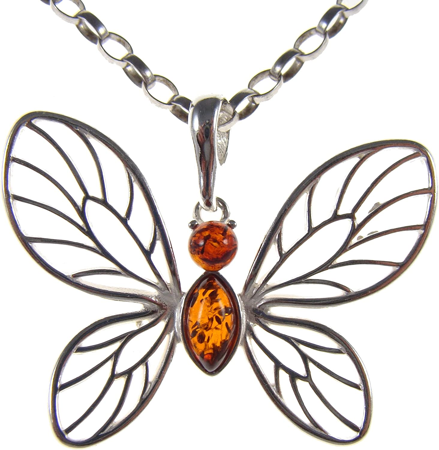 BALTIC AMBER AND STERLING SILVER 925 BUTTERFLY PENDANT NECKLACE 14 16 18 20 22 24 26 28 30 32 34 1mm ITALIAN SNAKE CHAIN