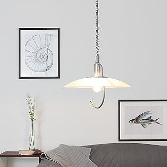 Hängeleuchte Weiß Silber E9 höhenverstellbar Glas Schirm