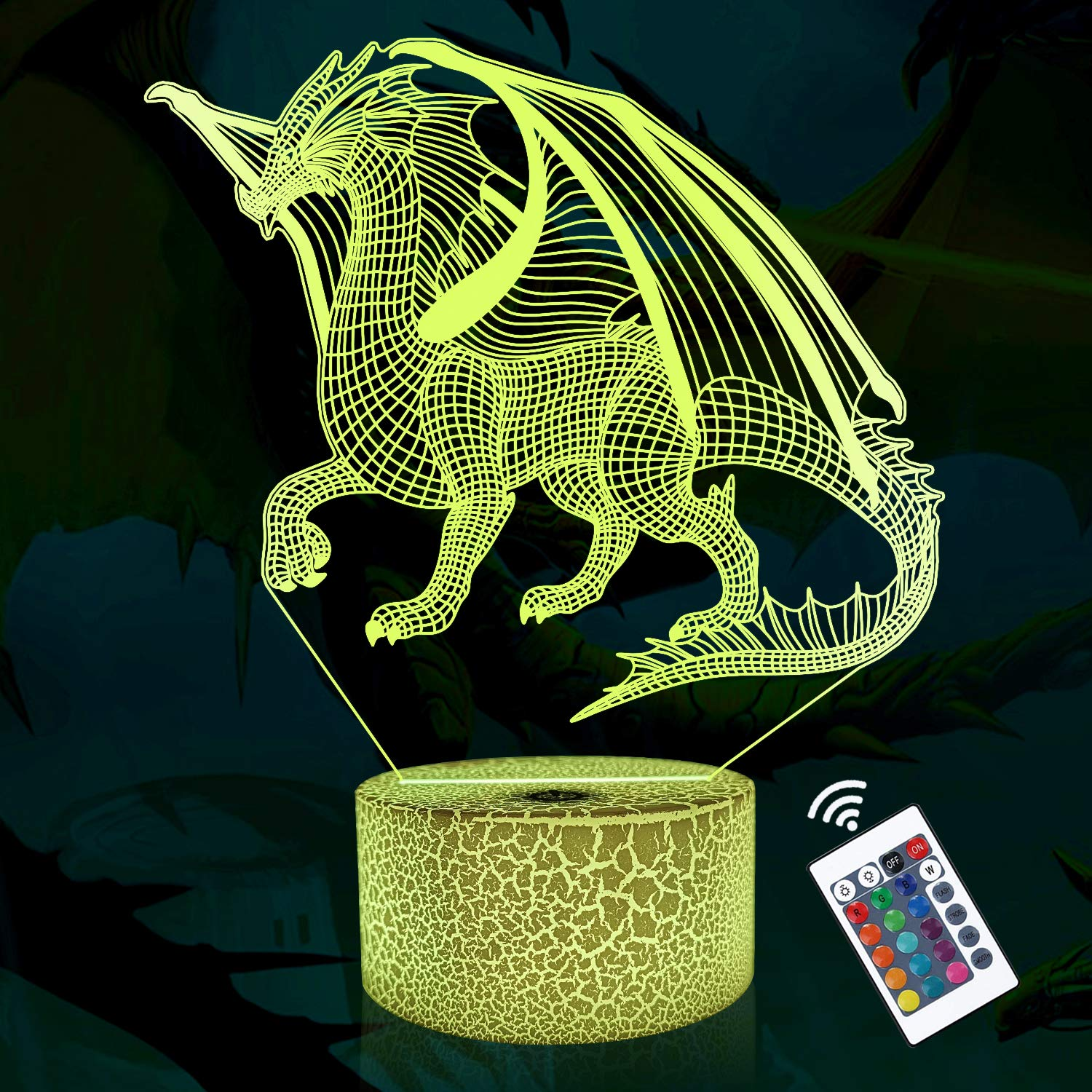 Lampeez 3D Dragon Lamp Night Light 3D Illusion lamp for Kids, 16 Colors Changing with Remote, Kids Bedroom Decor as Xmas Holiday Birthday Gifts for Boys Girls