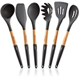Silicone Cooking Utensils Set (6 pcs): Natural Wood Kitchen Utensils – Eco Friendly & BPA Free, Non Scratch & Non Stick…