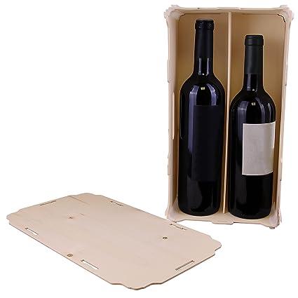 Pack de 3 Cajas de Vino para 2 botellas - Madera y plástico - Montaje manual tipo puzzle - Ideal para regalos